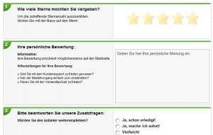 Bild: Formular für Bewertungen von Produkten Onlineshops