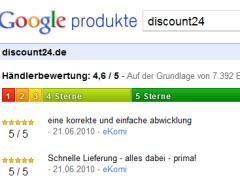 Bild: Shopbewertungen bei Google-Produkte