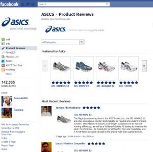 Kundenmeinungen von Baazarvoice auf Facebook für ASICS