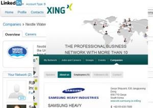 Bild: Screnshot LinkedIn & Xing - Professionelle Netzwerke