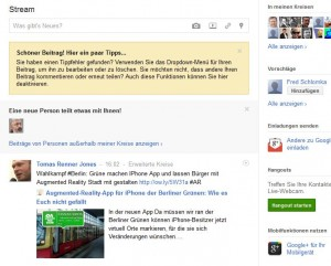 Screenshot Homepage Google+
