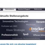 Screenshot der Website etracker