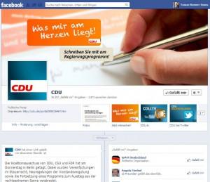 Screnshot: Facebook Profil der CDU