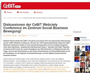 Screenshot: Blog: Social Media - Webciety CeBit 2013