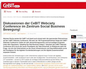 Screenshot: Blog: Social Media - Webciety CeBit 2013