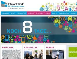 Screenshot Internet World Business Messe Homepage Countdown